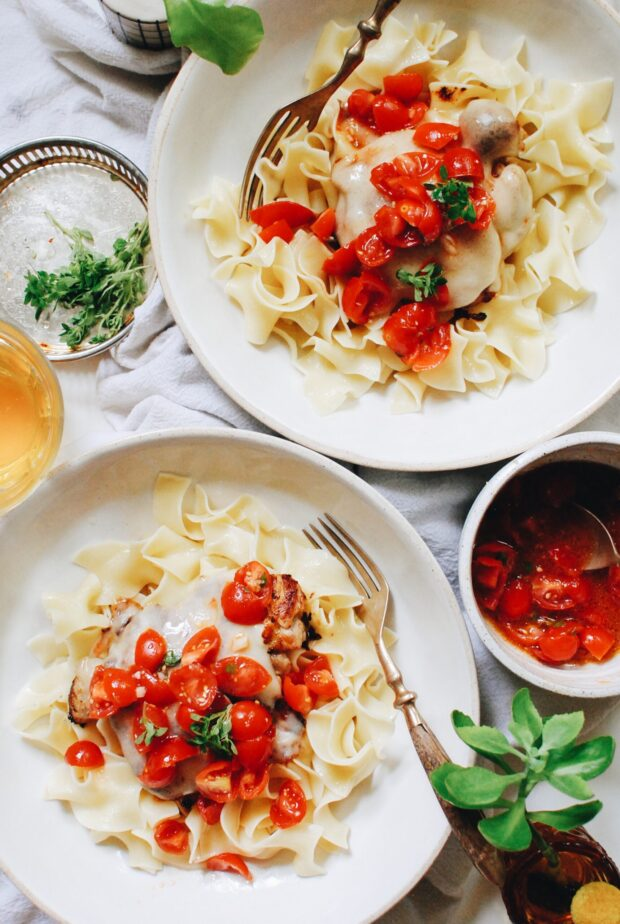 Chicken and Swiss Pasta with Fresh Tomatoes / Bev Cooks