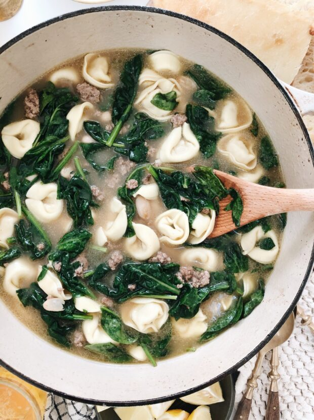 Cheese Tortellini Soup with Beef and Spinach / Bev Cooks