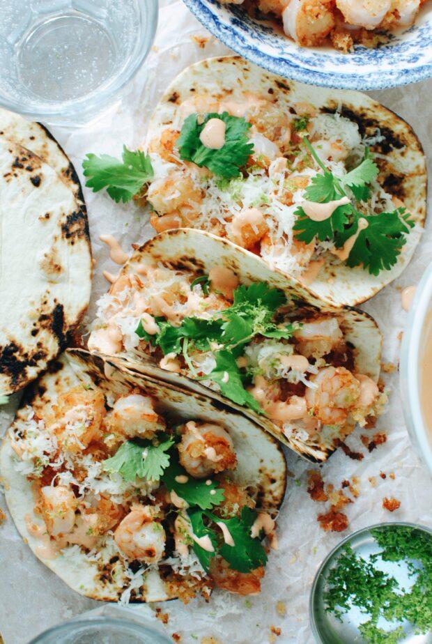 Crunchy Buffalo Shrimp Tacos / Bev Cooks